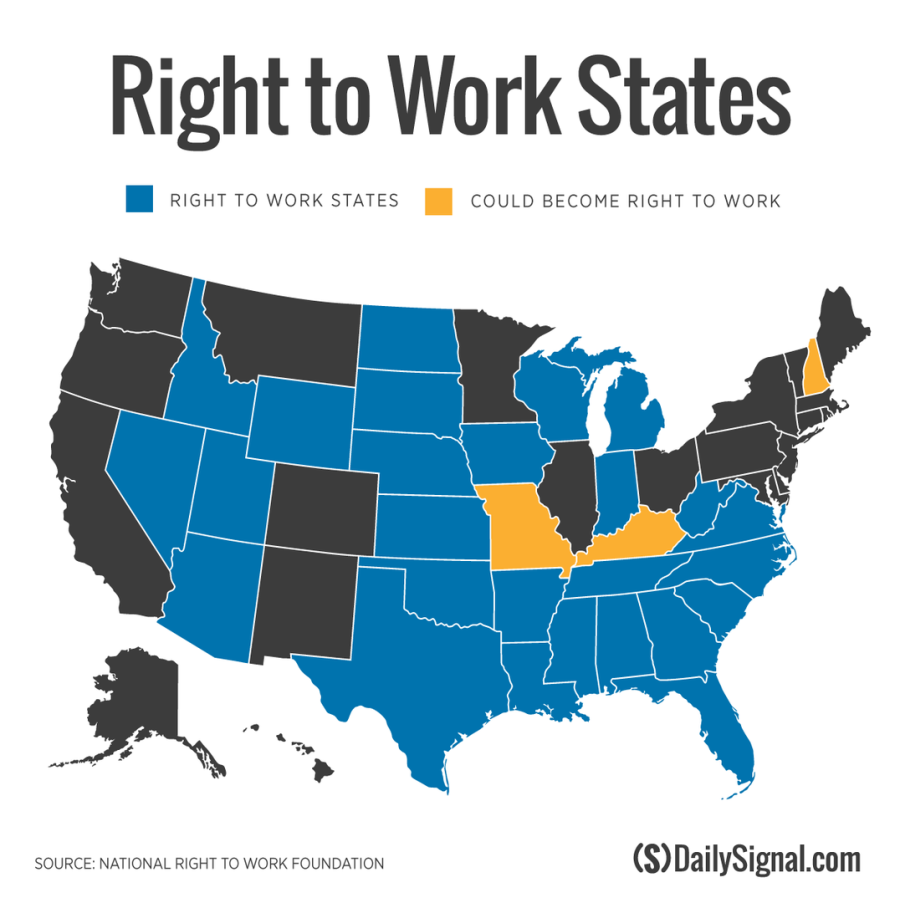 Right To Work States Map 2016.Gregory H Karnes P C Right To Work Laws